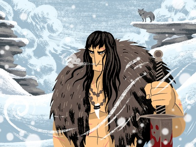 Conan photoshop brushes characterdesign comics sword blood barbarian mountains snow wolf conan drawing graphic character texture illustration