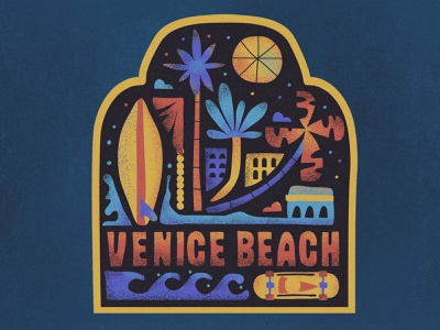 Road Trip vintage venice beach waves surf palm trees skateboarding badges lettering typography retro drawing graphic vector texture illustration
