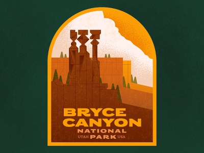 Road Trip national park roack formations trees clouds rocks bryce canyon utah lettering typography retro drawing graphic vector texture illustration