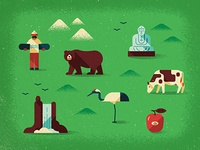 Map elements map vector texture icons apple snowboard bear buddha cow waterfall bird monocle