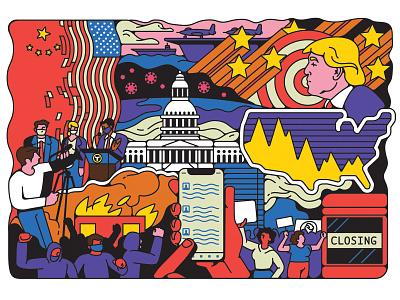 Washingtonian democracy linework vote protests character design america washington dc presidential election editorial retro graphic character vector illustration