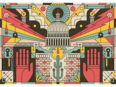 Washingtonian hands keyhole flames cactus mexico washington dc america whitehouse editorial retro graphic character vector texture illustration