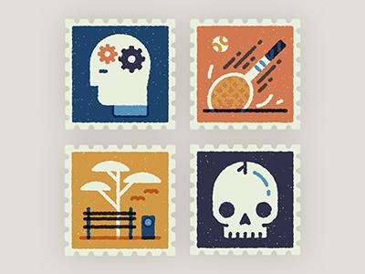 Postage stamps stamp vector retro texture head gears tennis park bench skull bird ball