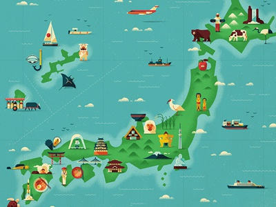 Map of Japan monocle vector texture icons map retro design nautical editorial japan muti character