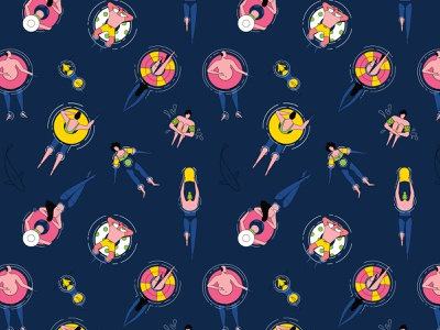 Hello Summer swimming aerial view topview dog characterdesign linework man woman lilo summer pattern graphic character vector illustration