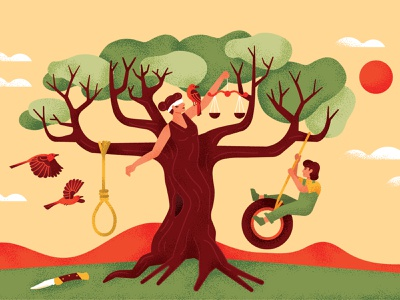 To Kill A Mocking Bird true grit texture supply trees noose birds mockingbird woman characterdesign editorial drawing graphic character vector texture illustration