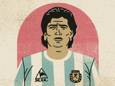 Farewell Maradona portrait argentina soccer maradona characterdesign simple drawing graphic character vector texture illustration