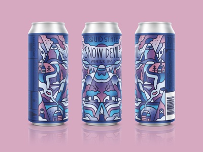 Snow Devil linework gradients beer cans beer smoke cabins owl trees reindeer snow mountains packaging design lettering design typography retro graphic character vector illustration