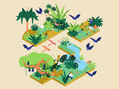The Hunt nature river trees bird chickens covid coronavirus bats scientist hunters characterdesign leaves foliage palm trees editorial graphic character vector texture illustration
