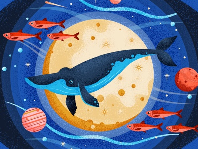 Blue Planet waves stars moon water planet whale fish retro drawing graphic character vector texture illustration