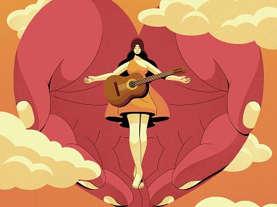 Wanda Jackson gradient musician guitar clouds hands wanda jackson characterdesign retro drawing graphic character vector texture illustration