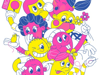 A-Ziggy pattern faces hands lunch mouse flowers risograph children characters characterdesign editorial retro graphic character vector illustration