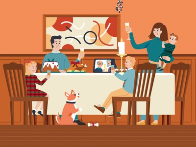 Home For the Holidays family dinner vector childrens book design drawing graphic character illustration