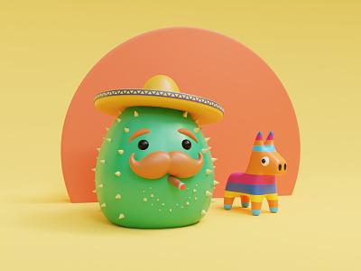 El Cactus 🌵 3drender characterdesign cigar sambrero cactus pinata 3d art 3d character illustration