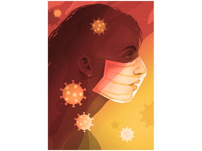 Stay Safe and Sane pandemic woman gradients virus characterdesign mask covid drawing graphic character texture illustration