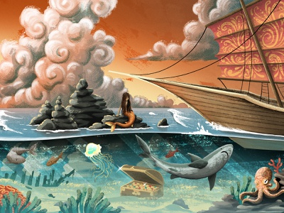 Sinbad tornado waves pirate ship ship clouds ocean coral octopus fish shark sealife treasure mermaid sinbad editorial retro drawing character texture illustration