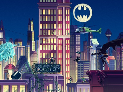 Exploring Gotham villians helicopter city buildings gotham poison ivy penguin joker batman editorial drawing graphic character texture illustration