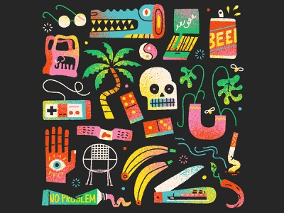 Return to the Misty Swamp hand playlist can beer palm tree lettering typeography cigarette dominos matches crocodile plants skull retro drawing graphic character texture illustration