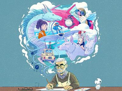 Miyazaki smoke dreaming glasses paint burshes studioghibli characterdesign miyazaki retro drawing graphic character texture illustration