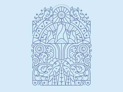 In Touch waterfall mountains monoline linework clouds symmetrical birds trees foliage leaves geometric pattern flat editorial retro graphic vector illustration