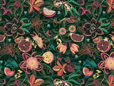 Imaginarium pattern design flowers berries foliage beer strawberry threetaverns vines eyes fruit pattern retro drawing graphic texture illustration