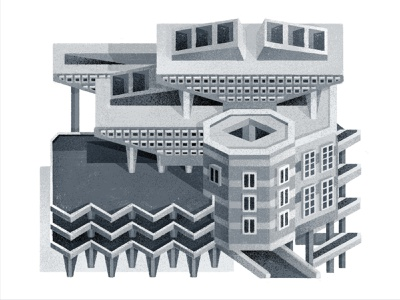 Brutal perspective city grayscale urban shadow brutalism building drawing graphic vector texture illustration