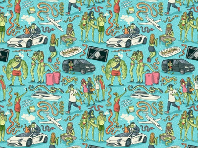 Super Slutty Snake textile design pattern design characterdesign yacht planes cars money leonardo dicaprio snake pattern retro drawing graphic character texture illustration