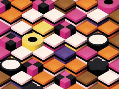 Allsorts pattern wallpaper perspective isometric liquorice sweets allsorts candy shadows gradients graphic vector illustration