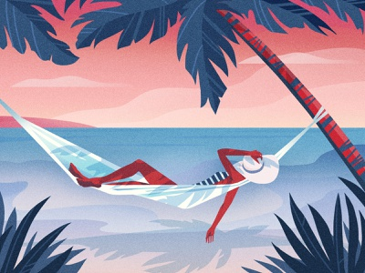 Summer Daze relaxing foliage landscape holiday ocean sea woman summertime hammock palm tree beach summer drawing graphic character texture illustration