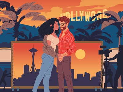 Seattle Met seattle met woman man movies skyline palm tree city characterdesign camera film seattle hollywood editorial retro graphic character vector illustration
