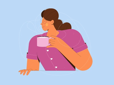 Monday Brew morning texture pajamas 2d illustration woman characterdesign linework coffee graphic character vector illustration