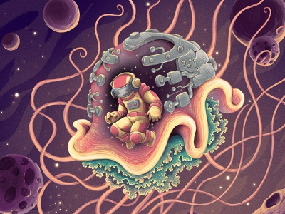 Kepi spacesuit astronaut music universe space planets tendrils characterdesign jellyfish retro drawing graphic character texture illustration