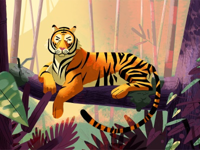 Just Chilling' tree leaves jungle foliage wild cats wild animals bengal tiger tiger nature lighting drawing graphic character texture illustration