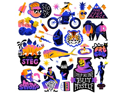 Mushroom Toast Sticker Pack mushroom pineapple dog motorbike fish pipe fat cat baboon tiger characterdesign stickers retro drawing graphic character texture illustration