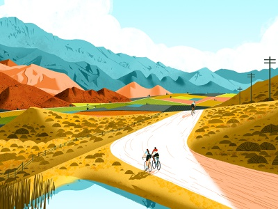Eroica characterdesign southafrica winelands off road countryside mountains lighting cyclists perspective editorial drawing graphic character texture illustration