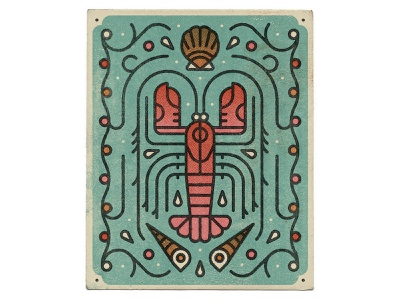 Lobstah! characterdesign linework crustacean ocean dotscreen pattern shell lobster graphic character vector texture illustration