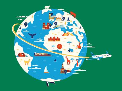 Around the Globe giraffe animals pyramids whale tiger penguins landmarks airplane travel world map editorial retro graphic character vector illustration