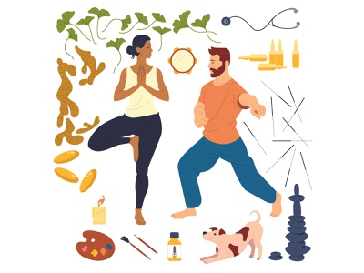 Personal Wellness medical supplements candle man woman acupuncture wellness healing puppy dog ginger editorial drawing graphic character vector illustration
