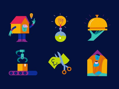 Telegraph money idea coffee factory covid lightbulb characterdesign icon editorial drawing graphic character vector texture illustration
