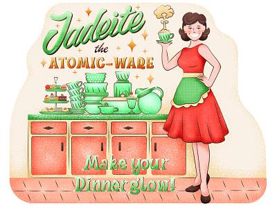 Jadeite Atomicware lettering typography postcard illustration graphic atomicware homeware flat retro housewife woman characterdesign texture vector