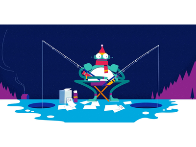 Gone Fishing... for the right CV drawing aftereffects editorial motiondesign gif loop character design character texture 2d illustration vector animation graphic illustration