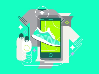 Zero Waste hands perspective app vehicles clothing textiles upcycle plastic bottles recycling ui icon flat editorial graphic character vector illustration