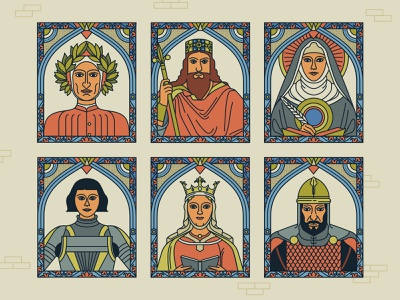 Middle Ages scholars saints queens kings woman characterdesign paintings middle ages border patterns portraits editorial retro drawing graphic character vector illustration
