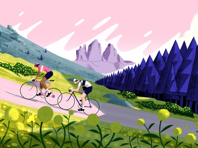 Dolomiti foliage man woman eroica dolomiti trees mountain race cycling characterdesign design flat editorial retro drawing graphic character texture illustration