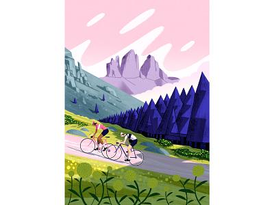 Dolomiti foliage man woman eroica dolomiti trees mountain race cycling characterdesign design flat editorial retro drawing graphic character texture illustration