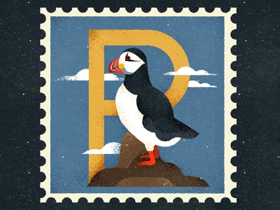 Puffin clouds bird puffin p 36daysoftype lettering characterdesign vintage typography retro drawing graphic character texture vector illustration