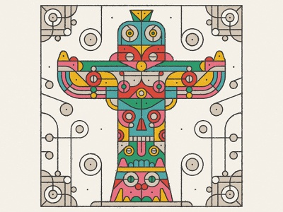 Totem 36 days of type totem pole geometric lettering pattern typography flat retro drawing graphic character vector texture illustration totem