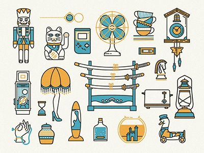 Thrift store hunting toys icons vector cat fan gameboy vintage samurai lamp camera clock linework
