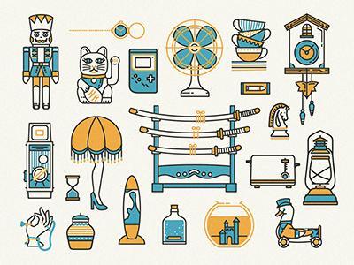 Thrift store hunting toys icons vector cat fan gameboy vintage samurai lamp camera clock linework