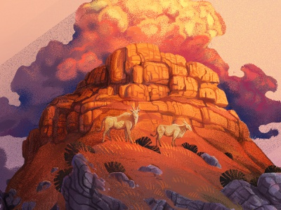 The Berg south africa africa eland buck animals characterdesign mountain veld landscape rocks rays clouds flat editorial drawing graphic character texture illustration